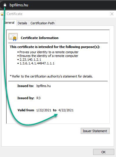 Érvényes SSL tanúsítvány adatok ellenőrzése